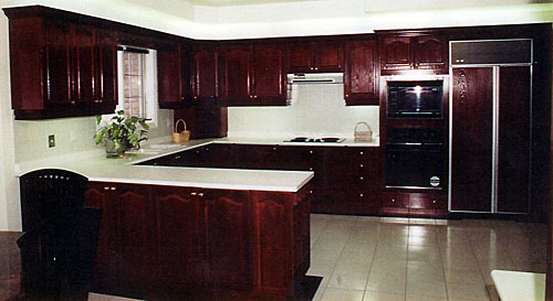 Larger Image - A dark stained wood kitchen can look good in veneer or solid wood.  Both types of doors can replace your old doors at a fraction of the cost of replacing the whole kitchen.