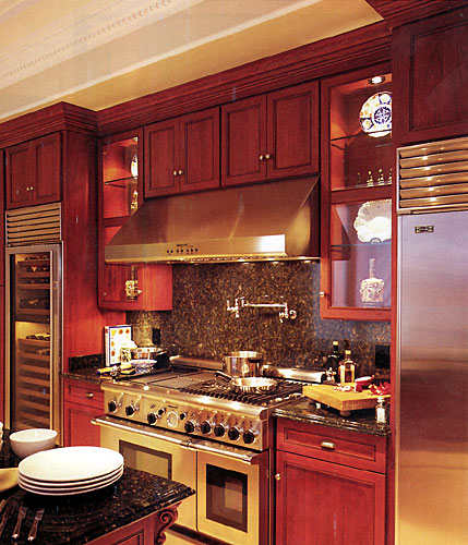 Larger Image - We can add glass doors when refacing your kitchen for a more contemporary look.