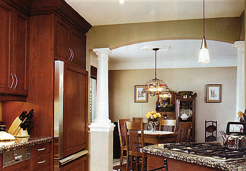 Larger Image - This taller than usual crown moulding enhanced this kitchen.