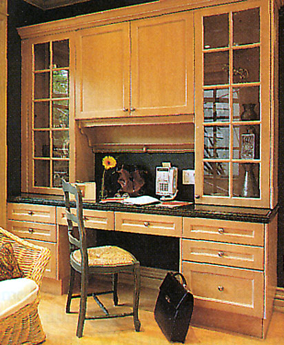 Larger Image - Our staff can create anything you desire as a part of your kitchen, such as this custom desk / cabinet combination.  Ask us when you receive your free in-home consultation!