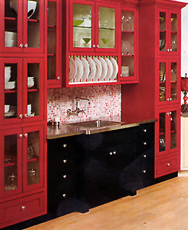 Larger Image - We can reface your kitchen cabinets in red, black, white, blue, green, or any other colours you desire.